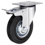 Промышленное колесо с площадкой поворотное с тормозом SCb 93 d-75 мм. черная резина, сталь