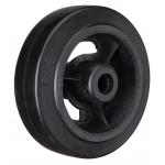 Большегрузное чугунное колесо без крепления D 46 d-100 мм. литая черная резина