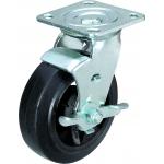 Большегрузное чугунное колесо с площадкой поворотное с тормозом SCDB 42 d-100 мм. литая черная резина