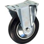 Промышленное колесо с площадкой неповоротное FC 92 d-75 мм. черная резина, сталь