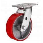 Большегрузное чугунное полиуретановое колесо с площадкой поворотное SCP 42 d-100 мм.