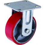 Большегрузное чугунное полиуретановое колесо с площадкой неповоротное FCP 80 d-200 мм.