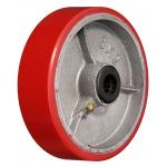 Большегрузное чугунное полиуретановое колесо без крепления P 63 d-150 мм.