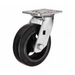 Большегрузное чугунное колесо с площадкой поворотное SCD 80 d-200 мм. литая черная резина