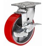 Большегрузное чугунное полиуретановое колесо с площадкой поворотное с тормозом SCPB 63 d-150 мм.