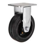 Большегрузное чугунное колесо с площадкой неповоротное FCD 63 d-150 мм. литая черная резина